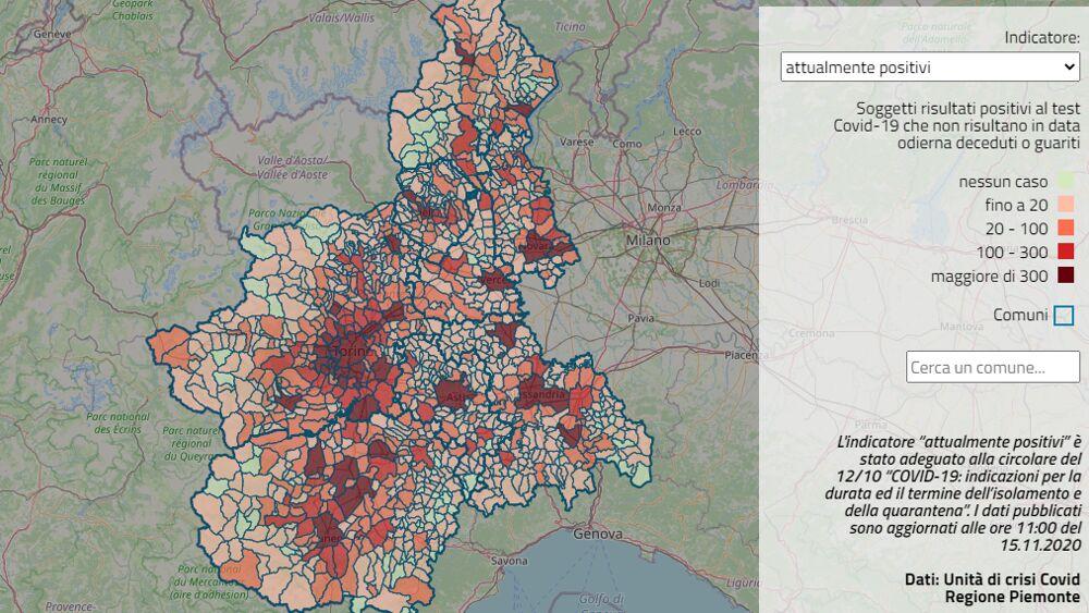 La Cartina Del Piemonte.Covid 19 La Mappa Del Numero Di Positivi In Piemonte I Dati Di Tutti I Comuni In Un Click