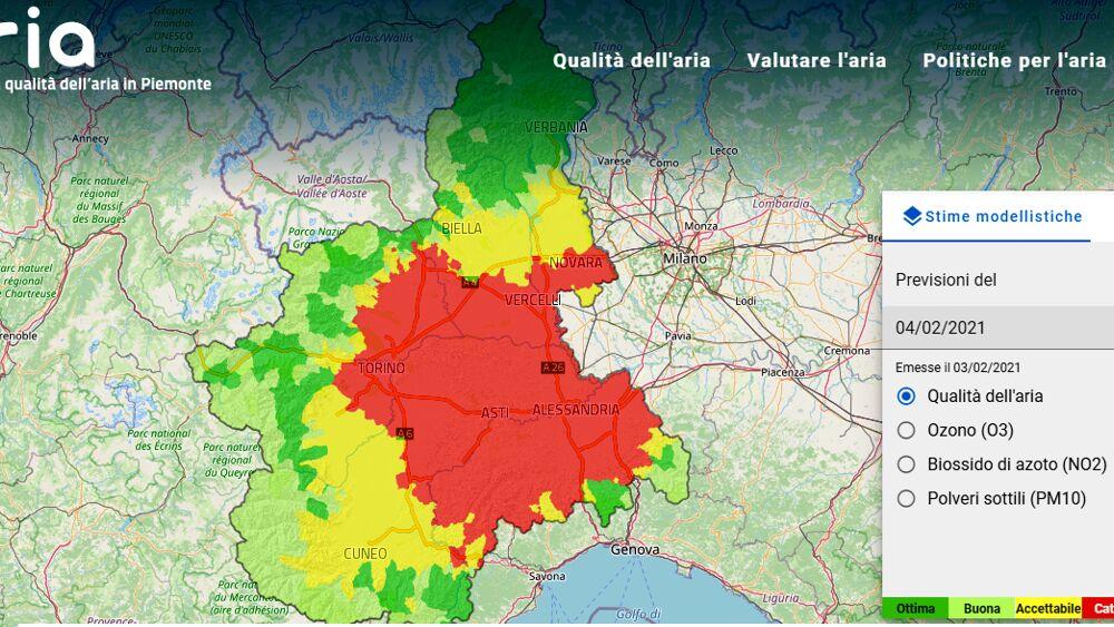 La Cartina Del Piemonte.Qualita Aria Torino Piemonte Inquinamento Smog Pm10